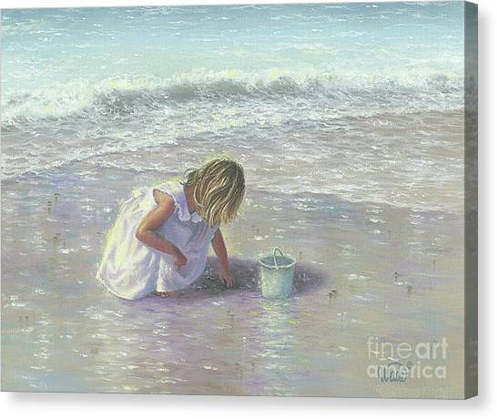 Children On Beach Canvas Print - Finding Sea Glass by Vickie Wade