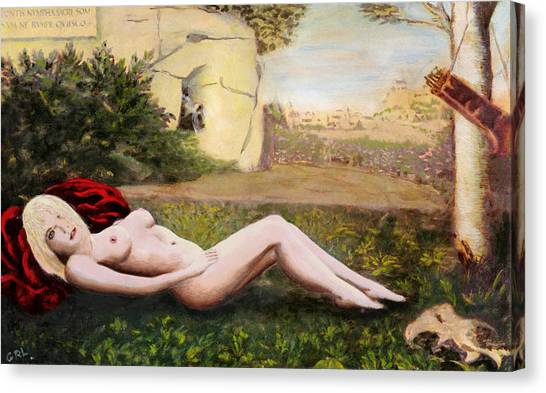 Canvas Print featuring the painting Fine Art Female Nude Niki Goddess Diana Reclining Multimedia Painting by G Linsenmayer