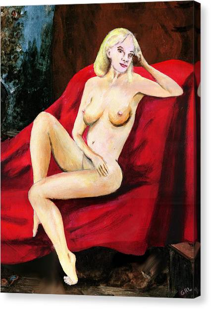 Fine Art Female Nude Seated On Red Drapery Canvas Print by G Linsenmayer