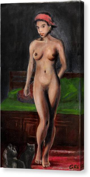 Fine Art Female Nude Standing With Cats Canvas Print