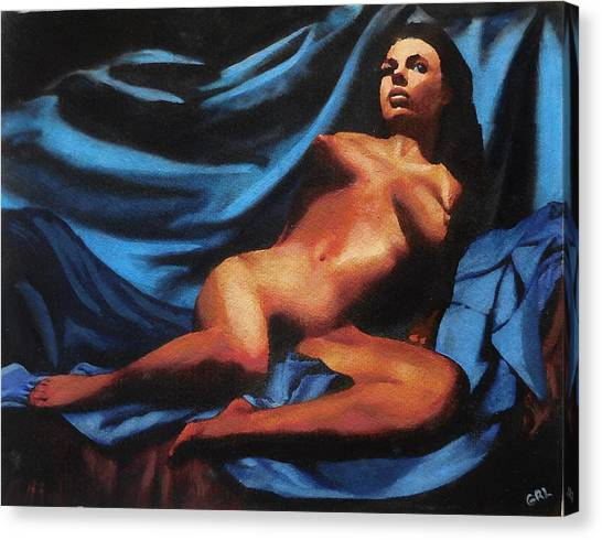 Canvas Print featuring the painting Fine Art Nude Multimedia Painting Tanya Sitting Reclined On Blue by G Linsenmayer