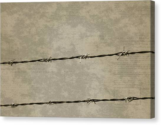 Fine Art Photograph Barbed Wire Over Vintage News Print Breaking Out  Canvas Print