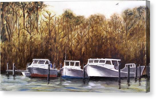 Fine Art Traditional Oil Painting 3 Workboats Chesapeake Bay Canvas Print