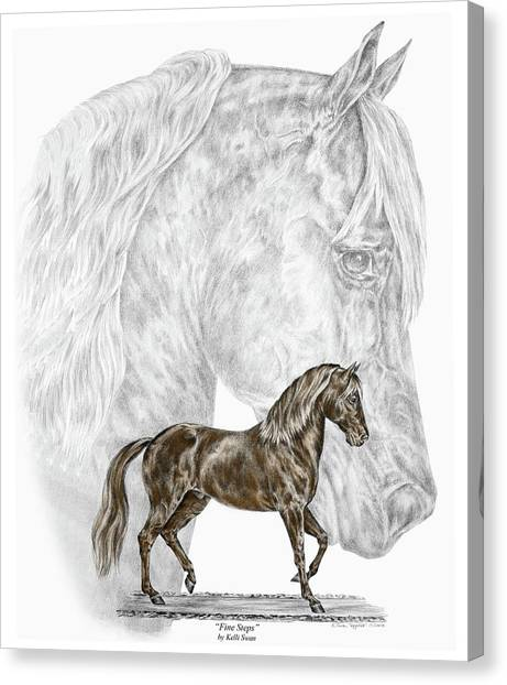 Fine Steps - Paso Fino Horse Print Color Tinted Canvas Print