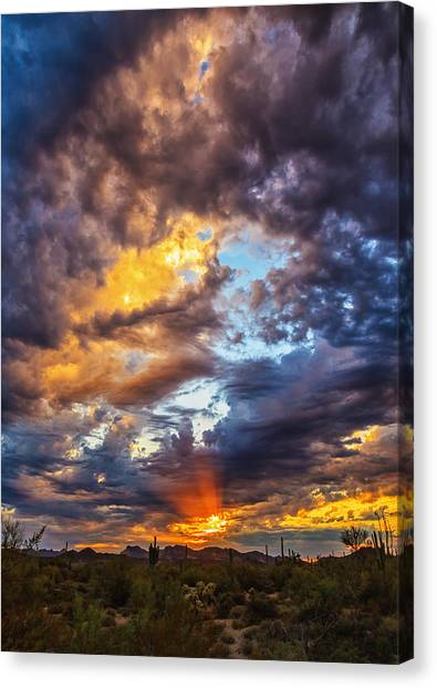 Finger Painted Sunset Canvas Print
