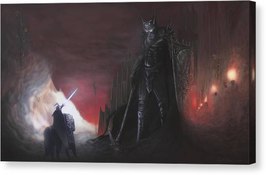 Tolkien Canvas Print - Fingolfins Final Fight by Rick Ritchie