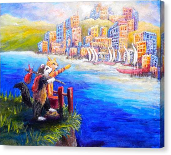 Finn And Hati Go To Town Canvas Print by Sebastian Pierre
