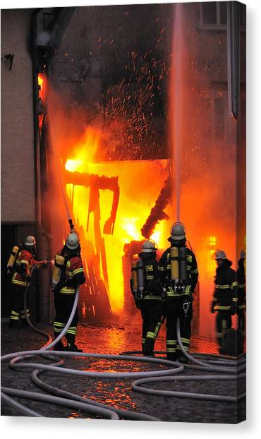 Fire - Burning House - Firefighters Canvas Print