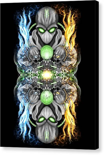 Fire And Ice Alien Time Machine Canvas Print