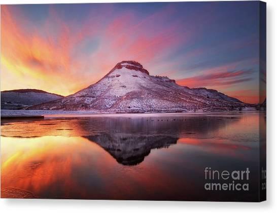 Fire And Ice - Flatiron Reservoir, Loveland Colorado Canvas Print