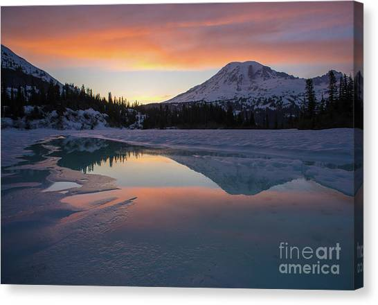 Washington Nationals Canvas Print - Fire And Ice Rainier Winter Lake Reflection by Mike Reid