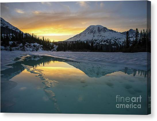 Washington Nationals Canvas Print - Fire And Ice Rainier Winter Reflection by Mike Reid