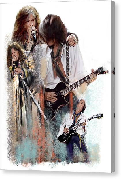 Steven Tyler Canvas Print -  Fire And Lightning Steven Tyler And Joe Perry Aerosmith by Iconic Images Art Gallery David Pucciarelli