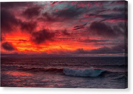 Canvas Print featuring the photograph Fire And Rain by Mike Trueblood