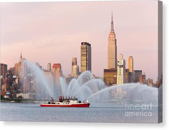 Fire Boat And Manhattan Skyline I Canvas Print