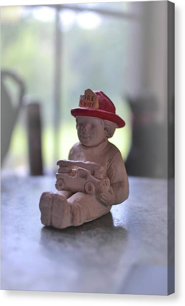 Fire Chief Molded Stone Canvas Print
