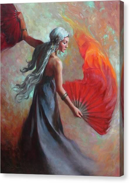 Greek Canvas Print - Fire Dance by Anna Rose Bain
