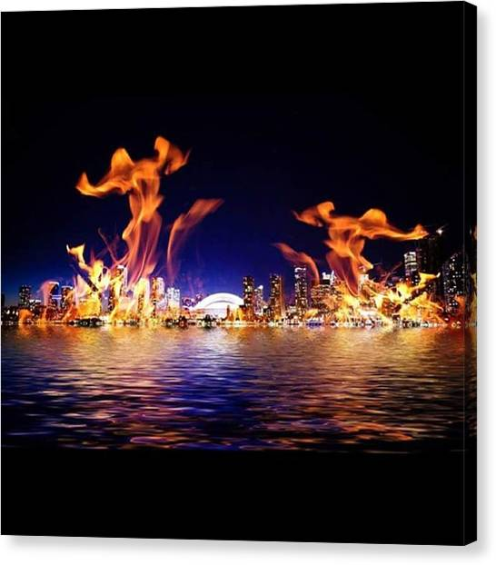 Abstract Skyline Canvas Print - fire Dancers #abstract #composite by Steve Wilkinson