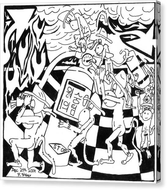 Fire Extinguishing Team Of Monkeys Maze Canvas Print by Yonatan Frimer Maze Artist