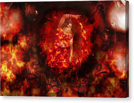 Fire Ball Canvas Print - Fire Eye by Sharon Popek