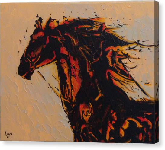 Fire Horse Canvas Print by Leena Kewlani