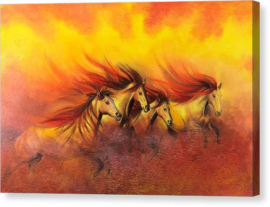 Fire Horses Canvas Print by Maria Hathaway Spencer