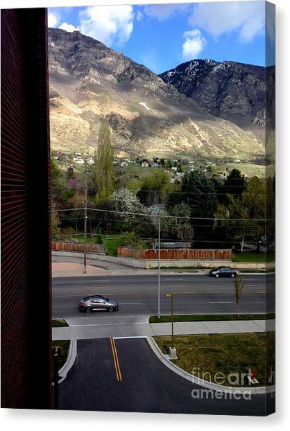 Brigham Young Byu Canvas Print - Fire Hydrant Guarding The Byu Y by Richard W Linford