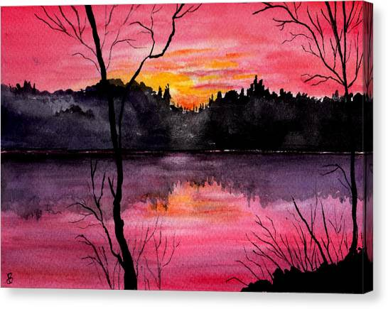 Fire In The Sky    Lake Arrowhead Maine Canvas Print