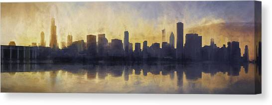 Bases Canvas Print - Fire In The Sky Chicago At Sunset by Scott Norris