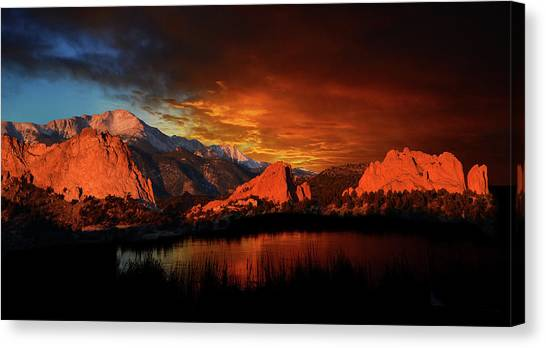 Fire In The Sky Canvas Print by John Hoffman
