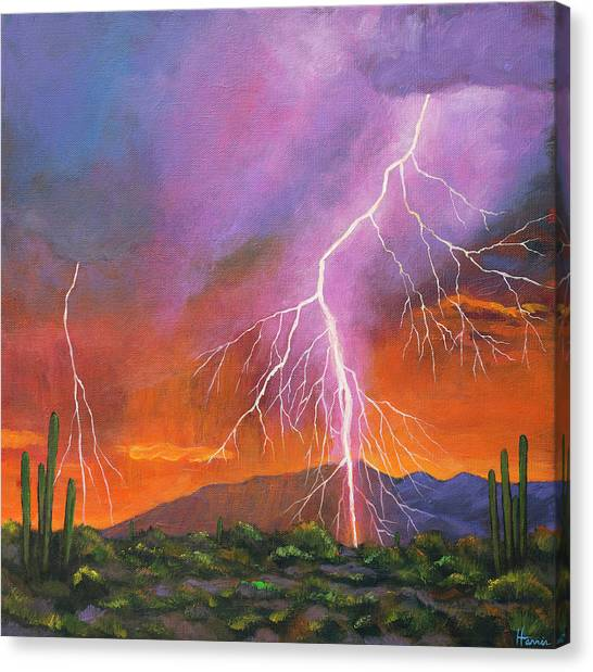 Cloudy Canvas Print - Fire In The Sky by Johnathan Harris