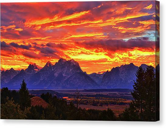 Fire In The Teton Sky Canvas Print