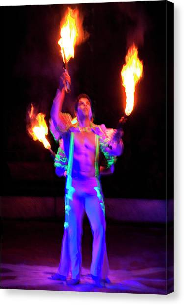 Canvas Print - Fire Juggler by Ron Morecraft