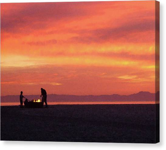 Fire On The Beach Canvas Print