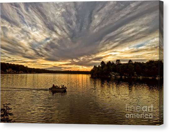 Fire On The Lake Canvas Print by Pat Carosone