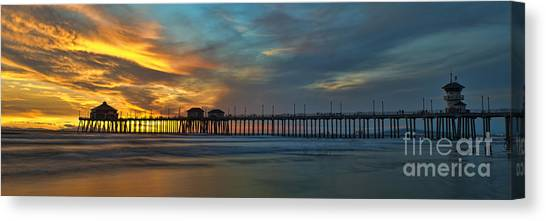 Fire On The Sky - Huntington Beach Pier Canvas Print