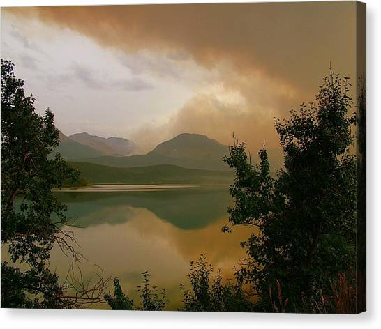Fire Over St Mary Lake Canvas Print