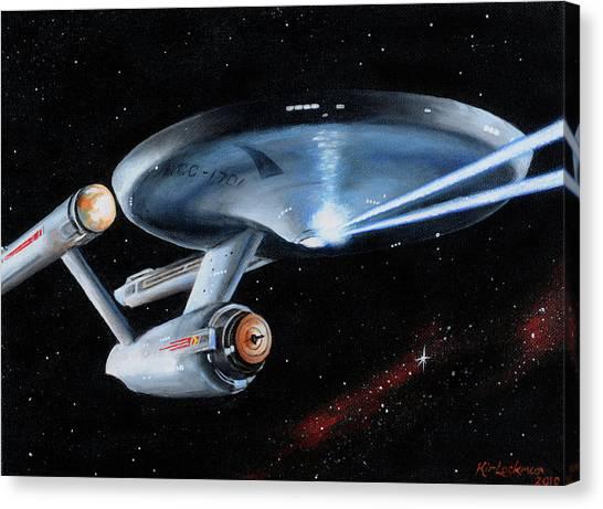 Starship Enterprise Canvas Print - Fire Phasers by Kim Lockman