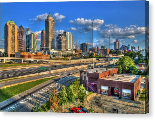 Emory University Canvas Print - Fire Station 11 Atlantic Station Midtown Atlanta Fire Department Art by Reid Callaway