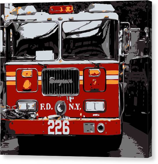 The City That Never Sleeps Canvas Print - Fire Truck Color 6 by Scott Kelley