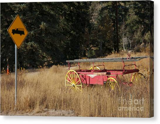 Fire Truck Crossing Canvas Print by David Pettit