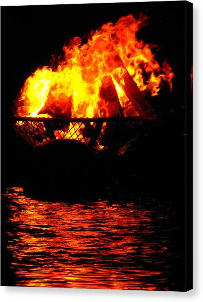 Fire Water Illuminates The Night Canvas Print