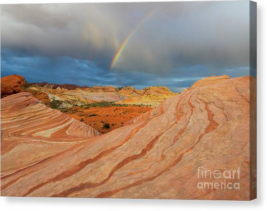 Valley Of Fire Canvas Print - Fire Wave Rainbow Dawn by Mike Dawson