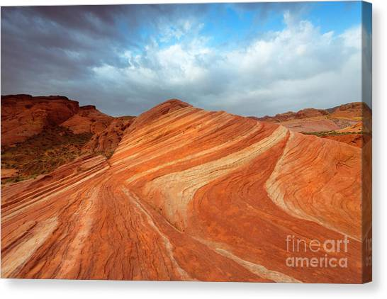 Valley Of Fire Canvas Print - Fire Wave Storm by Mike Dawson