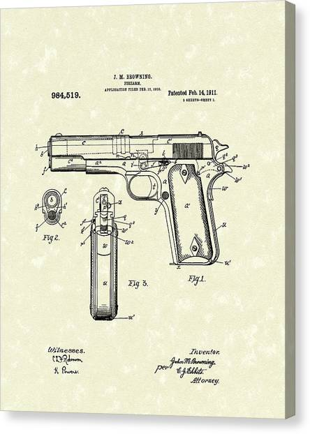 Firearm 1911 Patent Art Canvas Print