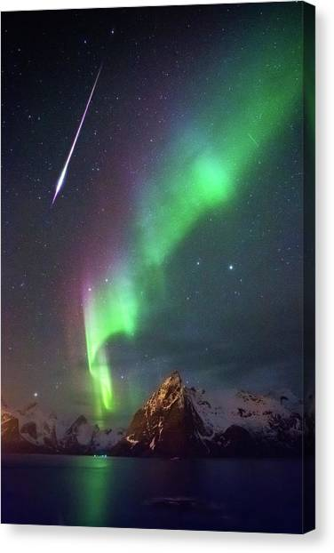 Fireball In The Aurora Canvas Print