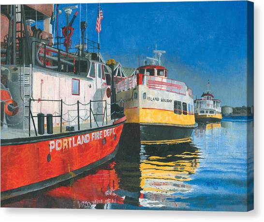 Canvas Print featuring the painting Fireboat And Ferries by Dominic White