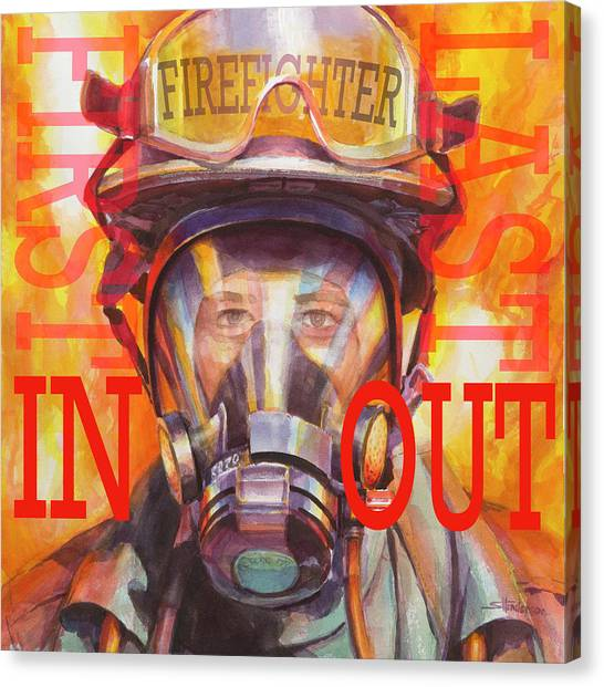 Fire Canvas Print - Firefighter by Steve Henderson