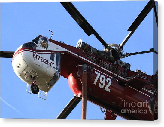 Skycrane Canvas Print - Firefighting Helicopter by Craig Corwin