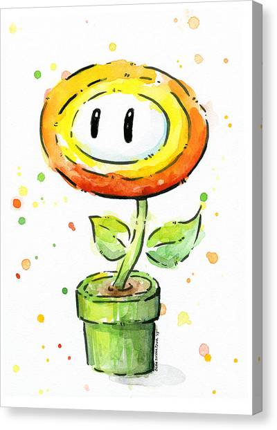Gaming Consoles Canvas Print - Fireflower Watercolor by Olga Shvartsur